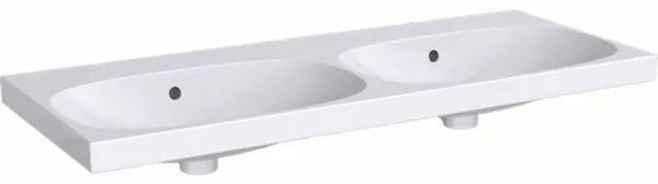 Geberit Acanto dubbele wastafel zonder kraangat met overloop 120x48.2x16.8cm wit 500628012 500.628.01.2
