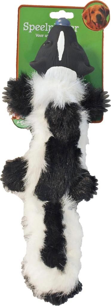Hondenspeelgoed pluche stinkdier met latex zwart/wit 40 cm