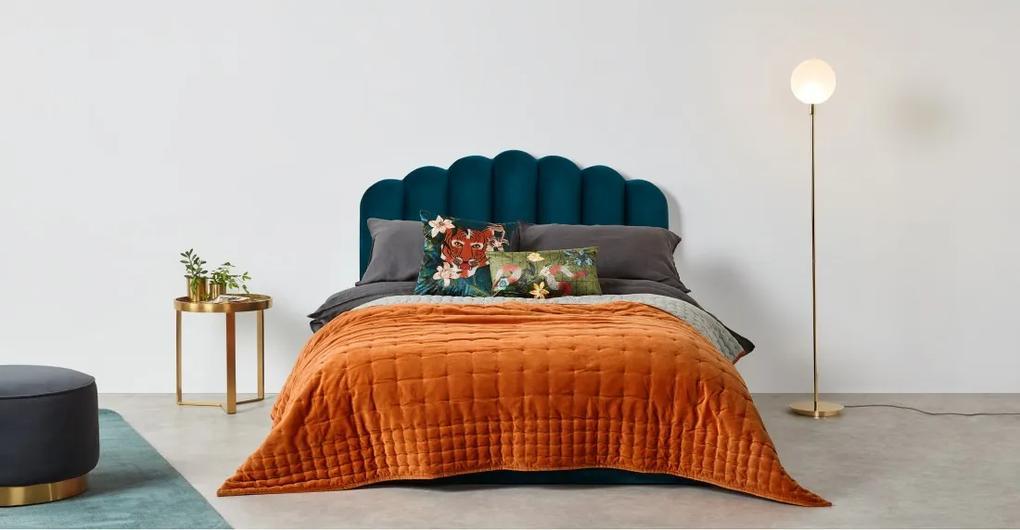 Syrah 100% katoenen fluwelen bedsprei. 225x220 cm, gebrand oranje