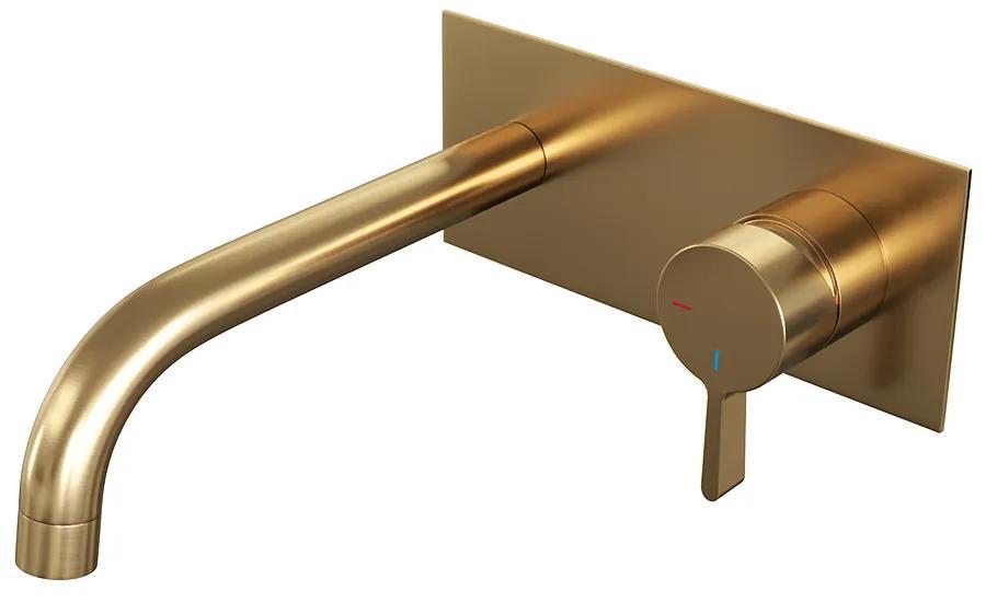 Brauer Gold Edition inbouw wastafelmengkraan rechthoekige hendelstaaf 20x9cm goud