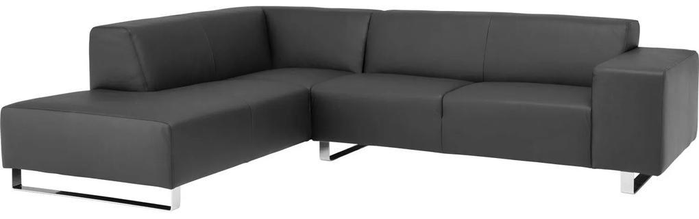 Goossens Excellent Hoekbank Design@Home zwart, leer, 2,5-zits, modern design met ligelement links