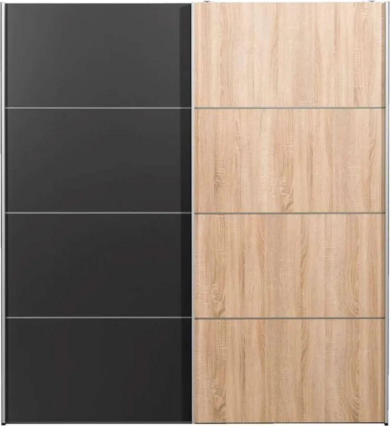 Schuifdeurkast Verona - eikenkleur/antraciet - 200x182x64 cm - Leen Bakker