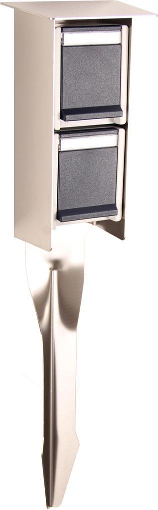 RVS Spie incl dubbel stopcontact voor lamp - beige