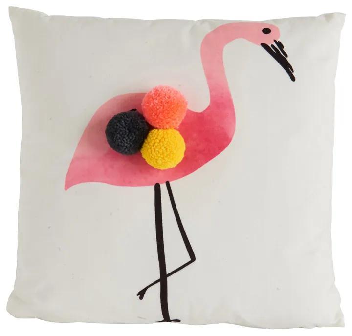 Kussen flamingo pompom - 40x40 cm
