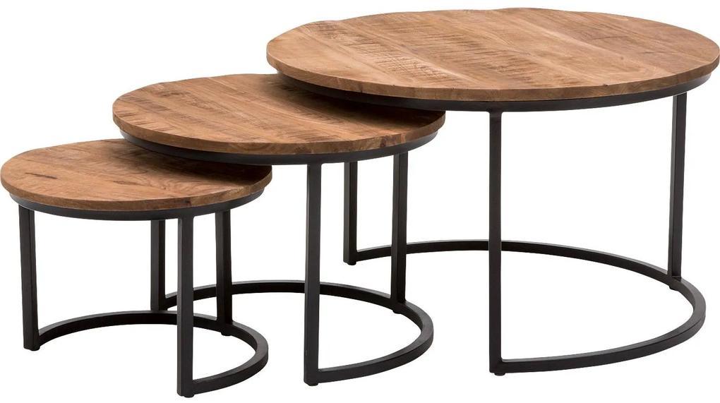 Goossens Salontafel Zida Xl rond, hout mango bruin, urban industrieel, 73 x 44 x 73 cm
