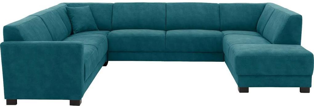 Goossens U-opstelling My Style Stof Grof Gweven blauw, microvezel, 2,5-zits, stijlvol landelijk met ligelement rechts