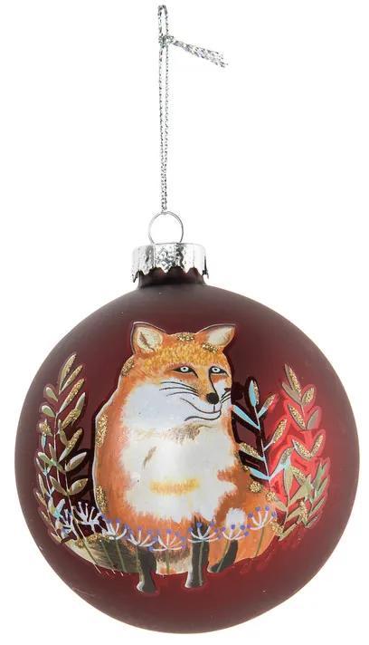 Kerstbal bordeaux vos - glas