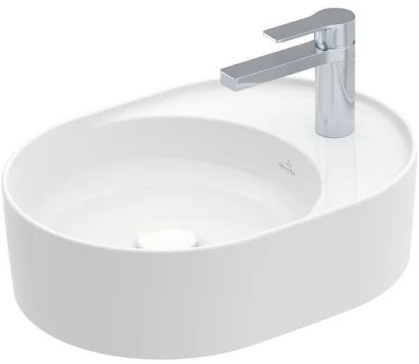 Villeroy & Boch Collaro opzetwastafel ovaal met kraangatbank 51x38cm zonder overloop 1 kraangat ceramic+ wit 4A1551R1