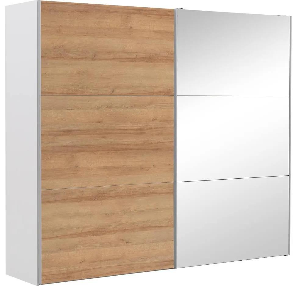 Goossens Kledingkast Easy Storage Sdk, 250 cm breed, 220 cm hoog, 1x 3 paneel schuifdeur li en 1x 3 paneel spiegel schuifdeur re