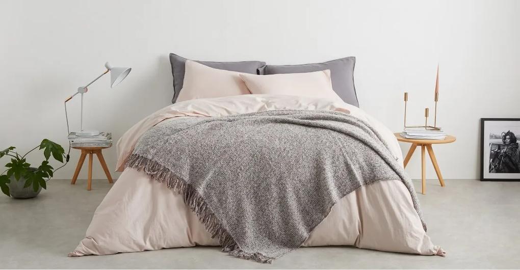 Marlow bedsprei van gemixte wol, 130 x 170 cm, roze