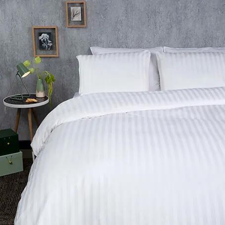 Presence Hotel Stripe - Premium - Wit Lits-jumeaux (240 x 200/220 cm + 2 kussenslopen) Dekbedovertrek