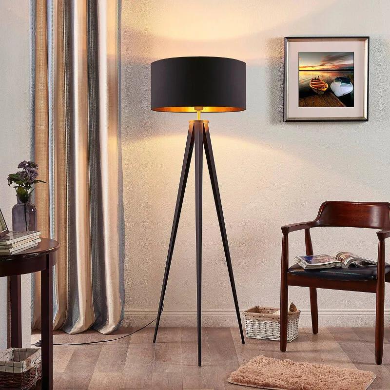Zwart-gouden vloerlamp Benik met statief look - lampen-24