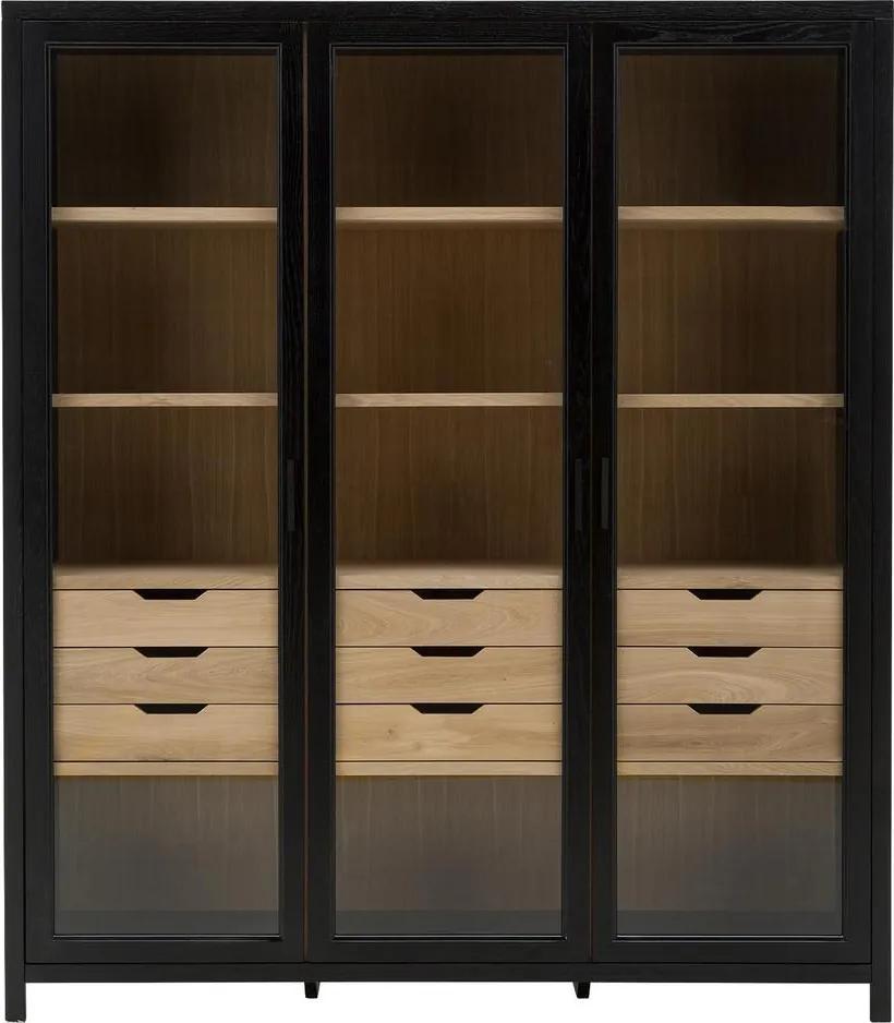 Goossens Vitrinekast Roel, 3 glasdeuren 9 laden, 205 cm hoog