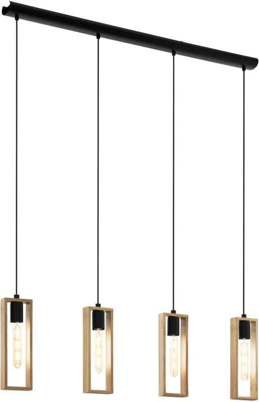 EGLO hanglamp Littleton 4-lichts - zwart/hout - Leen Bakker