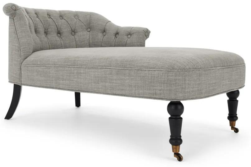 Bouji chaise longue met leuning links, grijze linnenmix