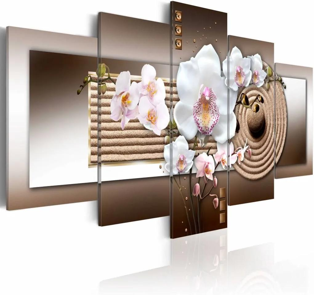 Schilderij - Orchidee en Zen , wit bruin , 5 luik