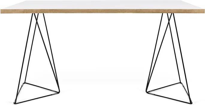 Bureau Wit Met Hout.Temahome Flow Minimalistisch Bureau Wit Met Hout Zwart Onderstel 140 X 75cm