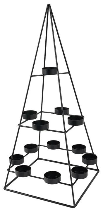 Kandelaar triangle - zwart - 24 x 24 x 50 cm