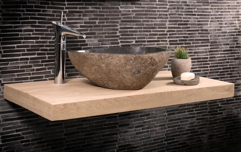 Eiken wastafel met Rivierstenen Waskom | 60x40x4 cm