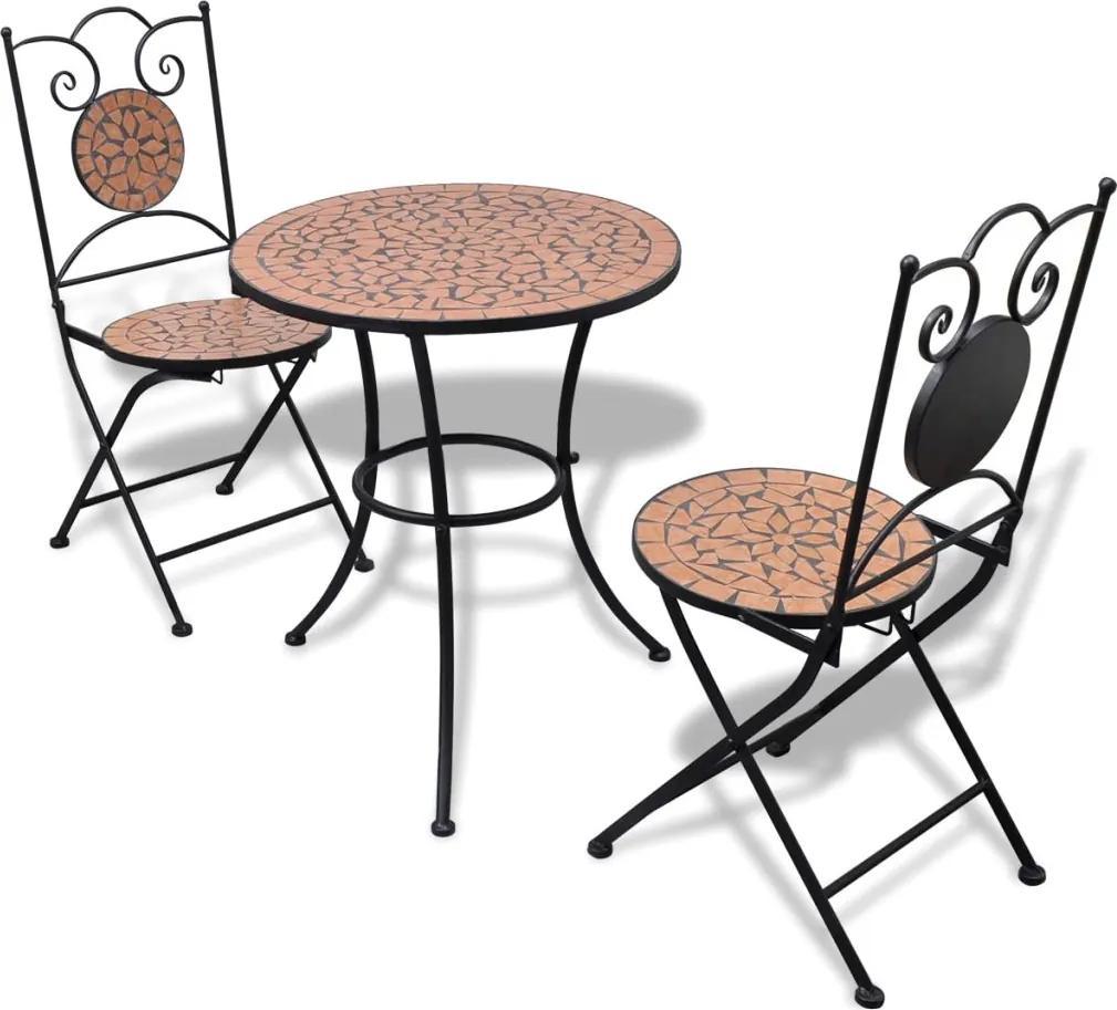 3-delige Bistroset keramische tegel terracotta