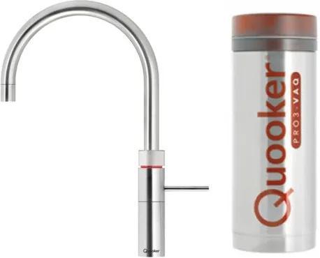 Quooker Fusion Round keukenkraan koud, warm en kokend water met PRO3 reservoir steel 3FRSTL