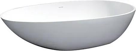 Ligbad Vrijstaand Solid Ovaal 90x180x60cm Solid Surface Glans Wit met Badwaste en Overloop