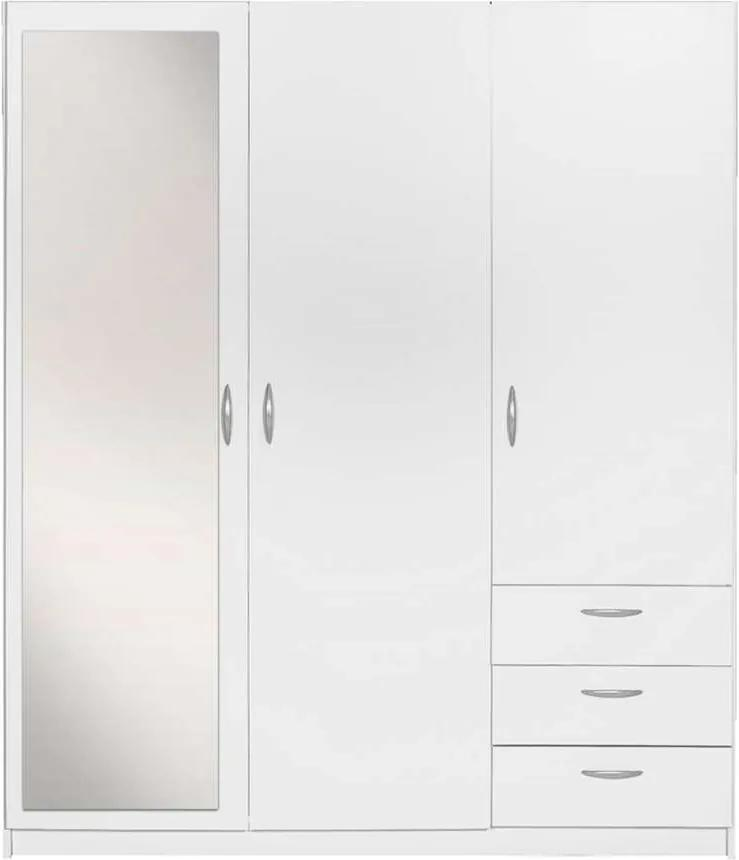 Kledingkast Varia 3 Deurs Inclusief Spiegel Wit 175x146x50 Cm Leen Bakker