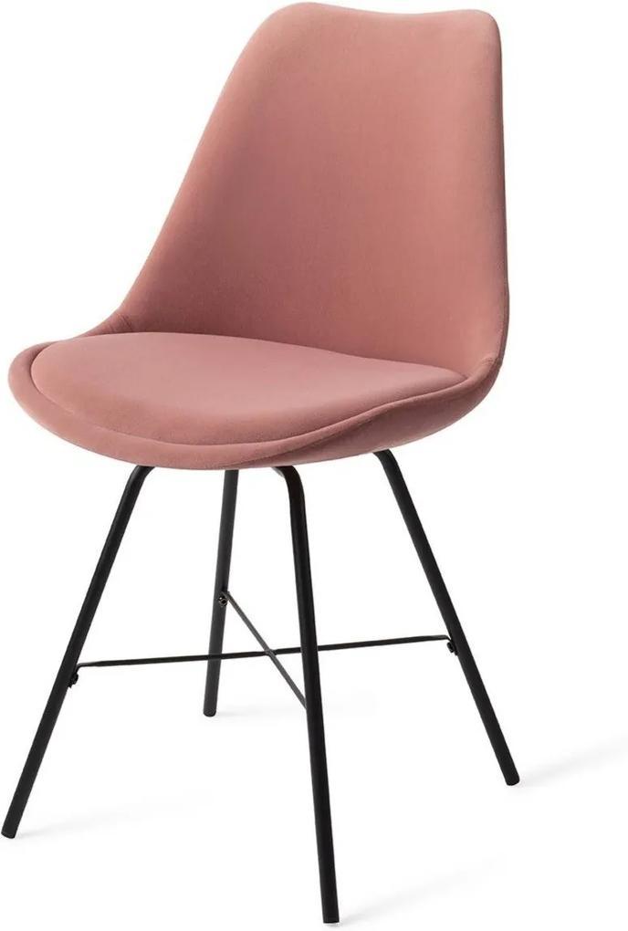 Urban Lifestyle | Eetkamerstoel June - totaal: breedte 47.5 cm x diepte 59.5 cm x roze, zwart eetkamerstoelen velvet, metaal | NADUVI outlet