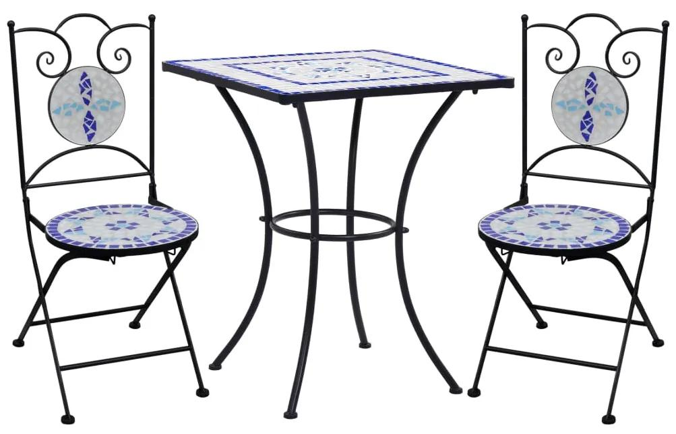 3-delige Bistroset mozaïek keramische tegel blauw en wit