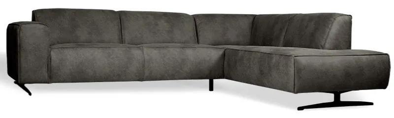 Hoekbank Lambada chaise longue rechts | leer Hunter grijs 104 | 2,76 x 2,10 mtr breed