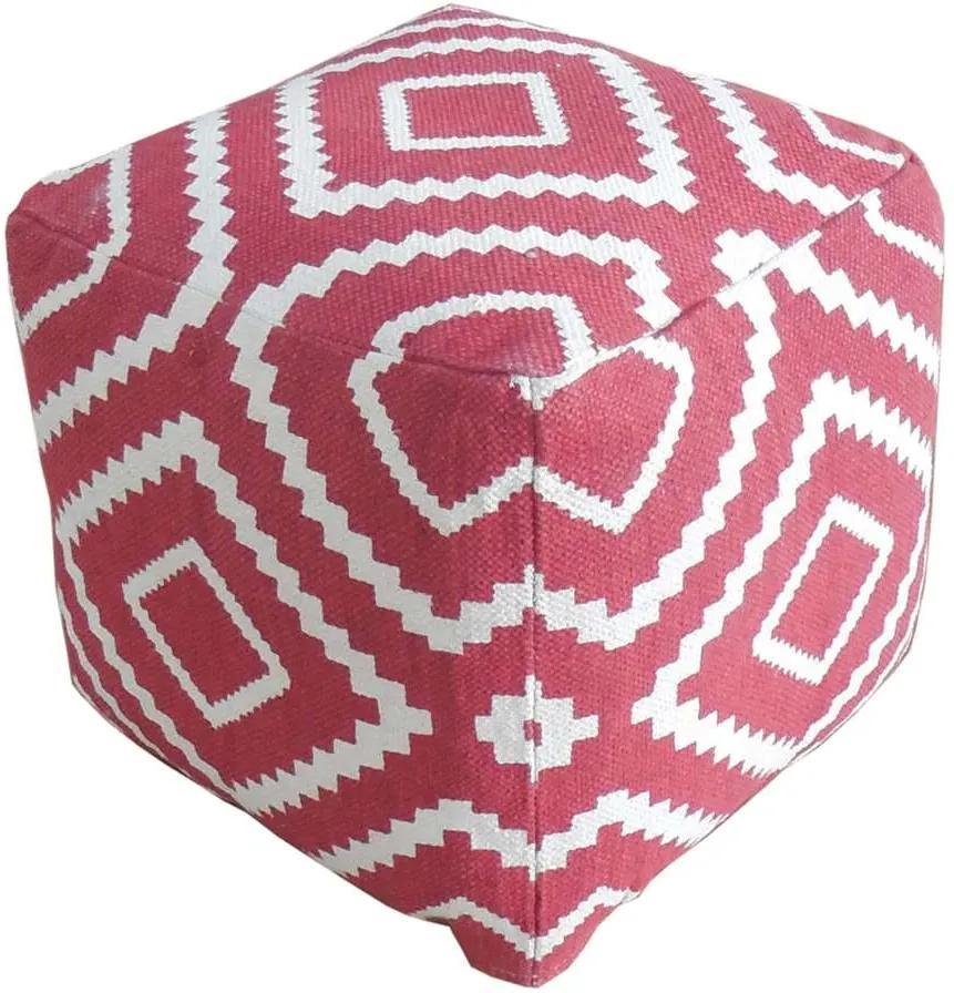 Poef Tudal - rood - 40x40x40 cm - Leen Bakker