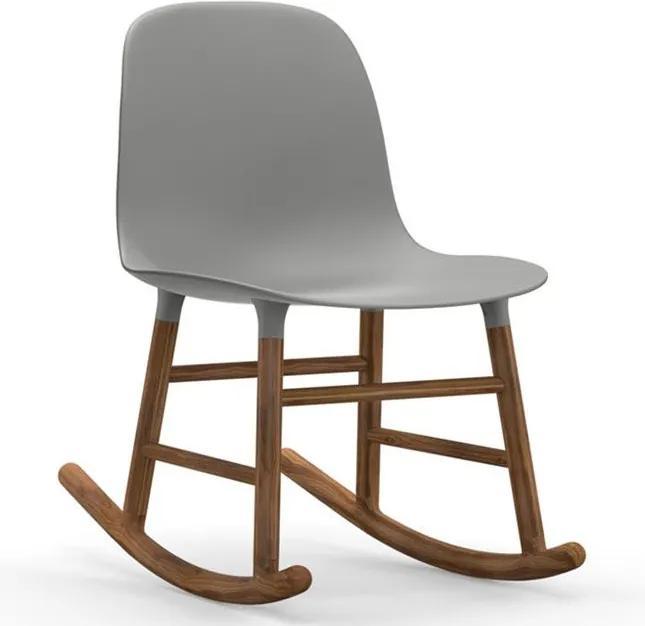 Normann Copenhagen Form Rocking Chair schommelstoel met walnoten onderstel grijs