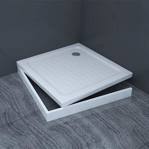 Douchebak Trevi Hoog Vierkant 80x80x16,5cm Antislip SMC Wit met Potenset en Afneembaar Paneel