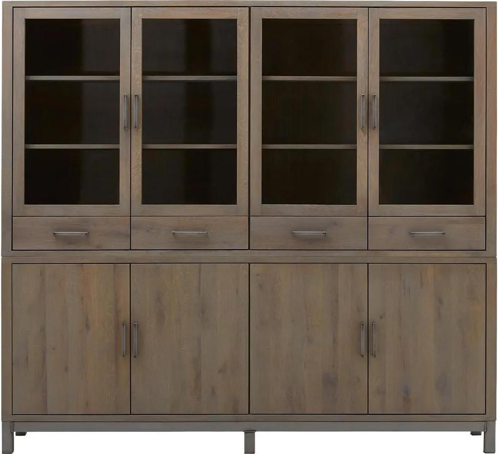 Goossens Buffetkast Malaga, 4 glasdeuren 4 dichte deuren 4 laden, blank eiken, 230 x 200 x 45 cm, urban industrieel