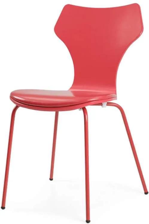 Tenzo eetkamerstoel Lolly incl. zitkussen - MDF - rood (4 stuks) - Leen Bakker