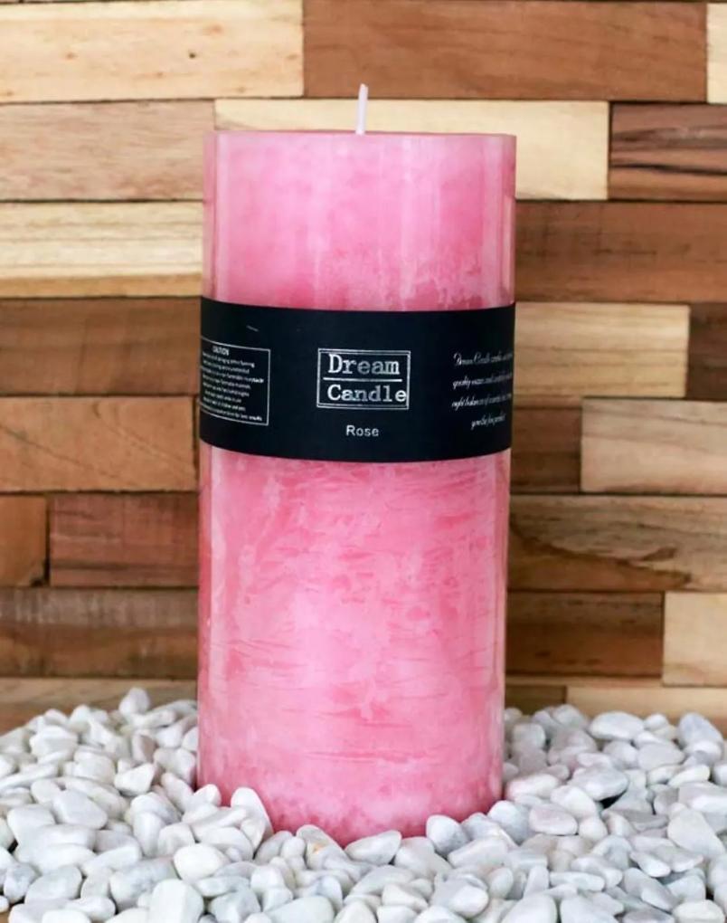 Geurkaars Roze Rose 9 x 20 cm