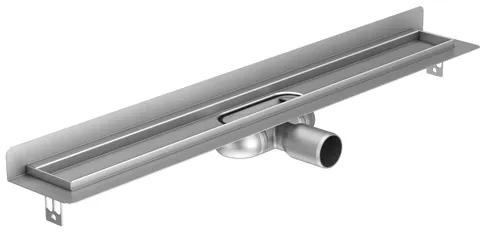 Aco ShowerDrain C douchegoot muurflens zonder rooster 88.5cm inbouwdiepte 6.5cm met zijuitloop RVS 90108831