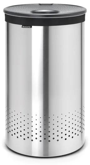 Brabantia wasbox 60 liter met dark grey kunststof deksel en uitneembare waszak matt steel 105166