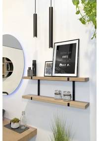 LoooX Wood wandplank duo 80x28x15cm met mat zwart ophanging eiken old grey/mat zwart WWSDUO80MZ
