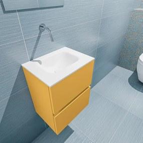 MONDIAZ ADA Toiletmeubel 40x30x50cm met 0 kraangaten 2 lades ocher mat Wastafel Lex midden Solid Surface Wit FK75341854