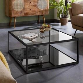 Kave Home Salontafel Blackhill Glas met zwart frame, 80 x 80cm