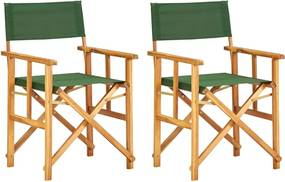 Regisseursstoelen 2 st massief acaciahout groen