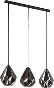 EGLO hanglamp Carlton 1 3-lichts - zwart/koper - Leen Bakker