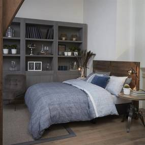 Rivièra Maison Beddengoed | Dekbedovertrekset Amsterdam Loft tweepersoons: breedte 200 cm x lengte 200/220 cm + blauw grijs | NADUVI outlet