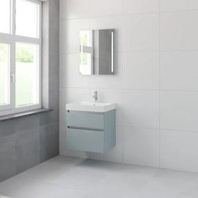 Bruynzeel Pinto badmeubelset 65.3x60x46cm 1 kraangat 1 wasbak 2 lades met spiegel met softclose composite fjord groen 123102316