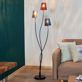 Vloerlamp Jules, rood/grijs/blauw, 3 lampen