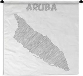 Wandkleed Aruba illustratie - Zwart-wit illustratie van een schets van Aruba Wandkleed katoen 180x180 cm - Wandtapijt met foto