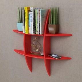 Wandplank MDF zwevend voor boeken/dvd rood