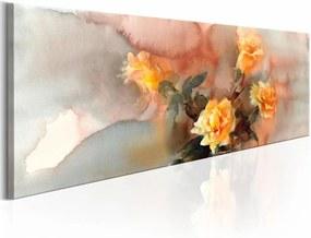 Schilderij - Boeket van Gele Rozen ,  marmer look