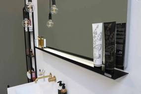 Stalen planchet tbv rechthoekige spiegel - mat zwart 1200xmm (bxd)